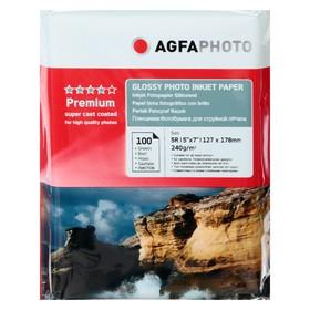 Фотобумага AGFA 13х18, 240 г/м², 100 листов, глянцевая, в пакете