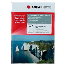 Фотобумага AGFA А4, 50 листов, глянцевая, 180 г/м², в пакете