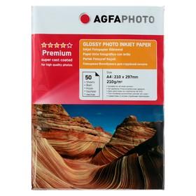 Фотобумага AGFA А4, 210 г/м², 50 листов, глянцевая, в пакете
