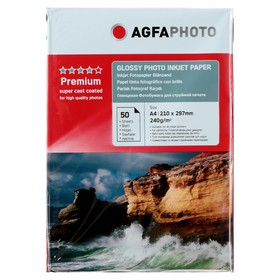 Фотобумага AGFA А4, 240 г/м², 50 листов, глянцевая, в пакете