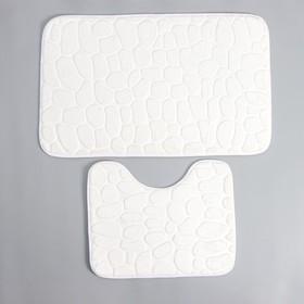 Набор ковриков для ванны и туалета Доляна «Галька», 2 шт: 39×50, 50×80 см, цвет белый