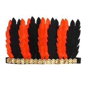 Карнавальный головной убор «Перья», цвет оранжево-чёрный Ош