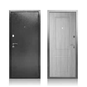Сейф-дверь «Абсолют Грей», 970 × 2050 левая, цвет серебристый антик / дуб филадельфия грей