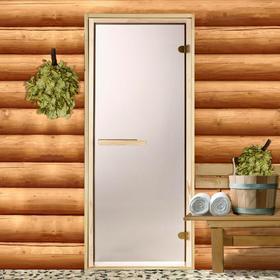 Дверь для бани и сауны стеклянная «Бронза», коробка 190 × 70 см, 6 мм, 2 петли Ош