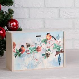 """Коробка подарочная """"Новогодняя, со снегирями"""", натуральная, 20×30×12 см"""
