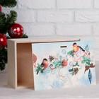 """Коробка подарочная """"Новогодняя, со снегирями"""", натуральная, 20×30×12 см - Фото 3"""