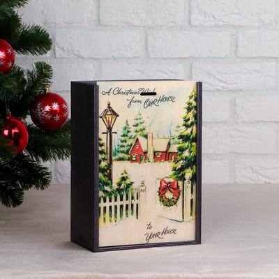 """Коробка подарочная """"Зимний вечер"""", серая, 20×30×12 см - Фото 1"""
