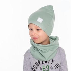Шапка для мальчика, цвет оливковый, размер 46-50 см