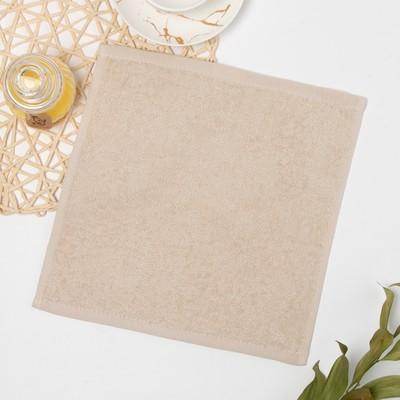 Полотенце махровое 30х30 см, кремовый-МИКС, хлопок 100% - Фото 1