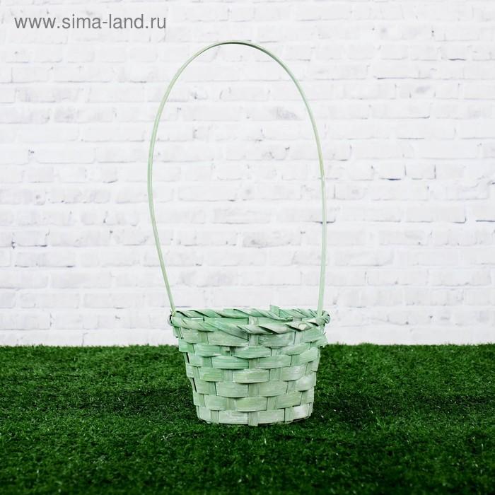 Корзина плетеная, бамбук, 13x13х9,5/28см, зелёная