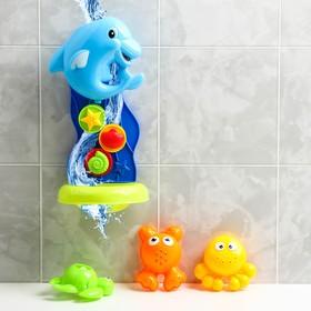 Набор игрушек для купания «Дельфинчик + 3 игрушки», на присоске