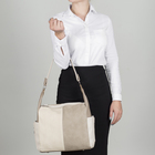 Сумка женская, 2 отдела на молниях, 3 наружных кармана, цвет бежевый