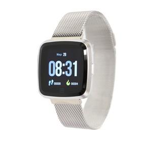 """Смарт-часы NO.1 G12, цветной дисплей 1.3"""", стальной ремешок, серебристые"""