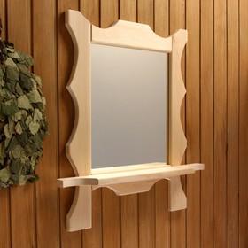 Зеркало резное с 1 полкой, 70×55×16 см Ош