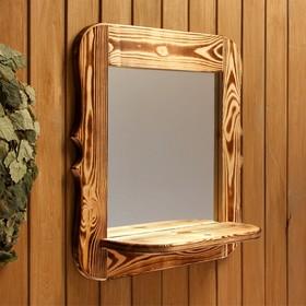 Зеркало резное с полкой, обожжённое, 53×53×1,6 см Ош