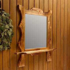 Зеркало резное 'Квадрат' с полкой, обожжённое, 53×53×15 см Ош