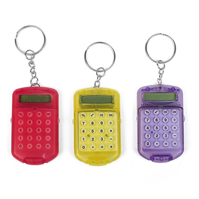 Калькулятор-брелок с крышкой, 8-разрядный, тонированный, МИКС
