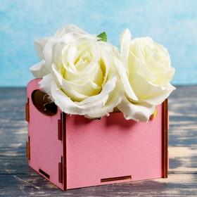 Кашпо деревянное 'Классика', ручки вырезы боковые, розовый Ош