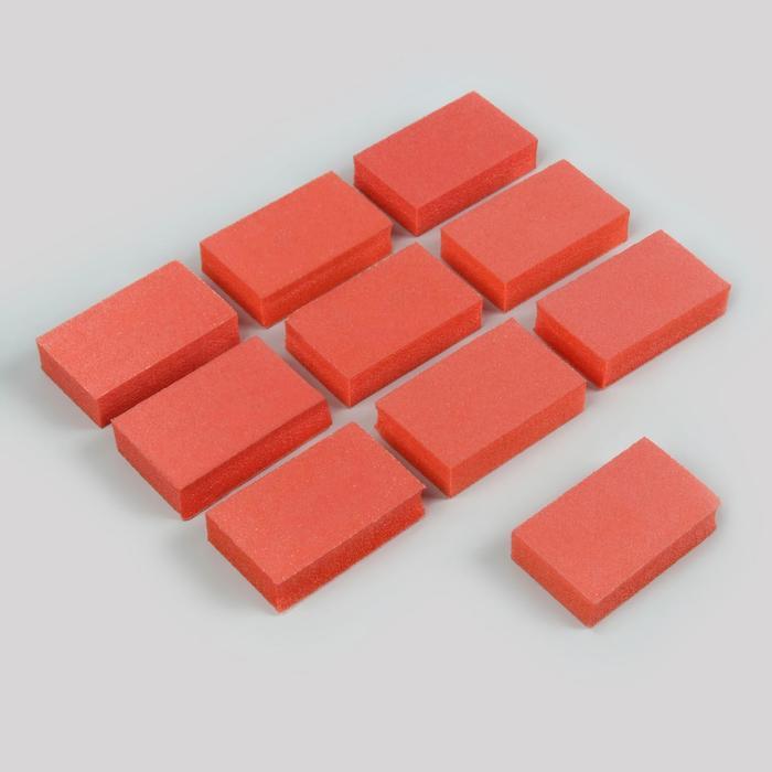 Бафы наждачные для ногтей, двусторонние, 10 шт, 5 × 3 см, цвет оранжевый