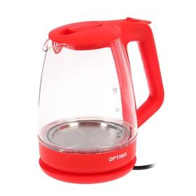Чайник электрический OPTIMA EK-1718G, стекло, 1.7 л, 2200 Вт, красный