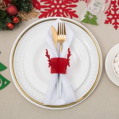 """Кольцо для салфетки """"Новогодний олень"""" 5 см, 100% п/э, фетр"""