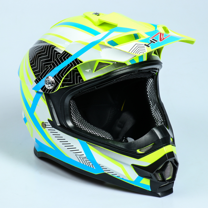 Шлем HIZER B6196-1, размер L, белый, жёлтый, голубой