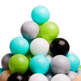 Набор шаров 150 шт, цвета: бирюзовый, серый, белый, чёрный, салатовый, бежевый, диаметр 7,5 см Ош