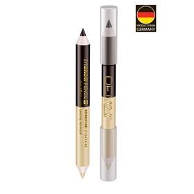 Карандаш для бровей двойной DEMINI, карандаш коричневый + матово-бежевый хайлайтер Ош