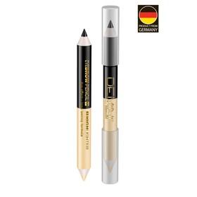 Карандаш для бровей двойной DEMINI, карандаш чёрный + золотистый хайлайтер Ош
