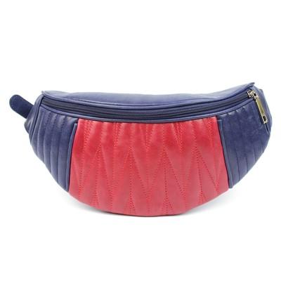 Сумка женская поясная, наружный карман, бордовый/синий крек - Фото 1