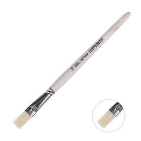 Кисть Щетина плоская №14 (ширина обоймы 14 мм; длина волоса 22 мм), деревянная ручка, Calligrata Ош
