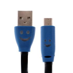 Кабель LuazON, microUSB - USB, 1 А, 0,85 м, плоский, светящийся, черный Ош