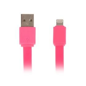 Кабель LuazON, Lightning - USB, 1 А, 20 см, розовый Ош