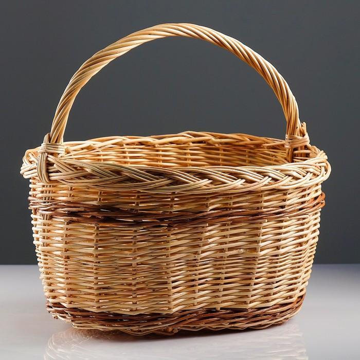 Корзина «Калина», 45×30×24/42 см, ручное плетение, ива