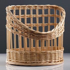 Корзина под багеты, подвес, дно фанера 40×25, H=22/40, верх 40×30, ручное плетение, ива Ош