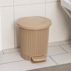 Контейнер для мусора с педалью 6 л Ajur, цвет кофейный