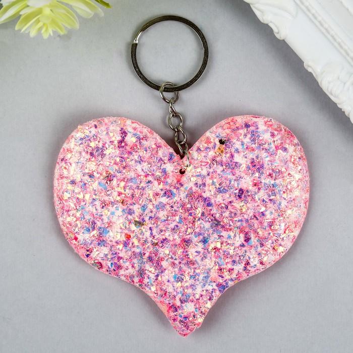 Брелок текстиль фольга Сердце розовый 8х9,5 см