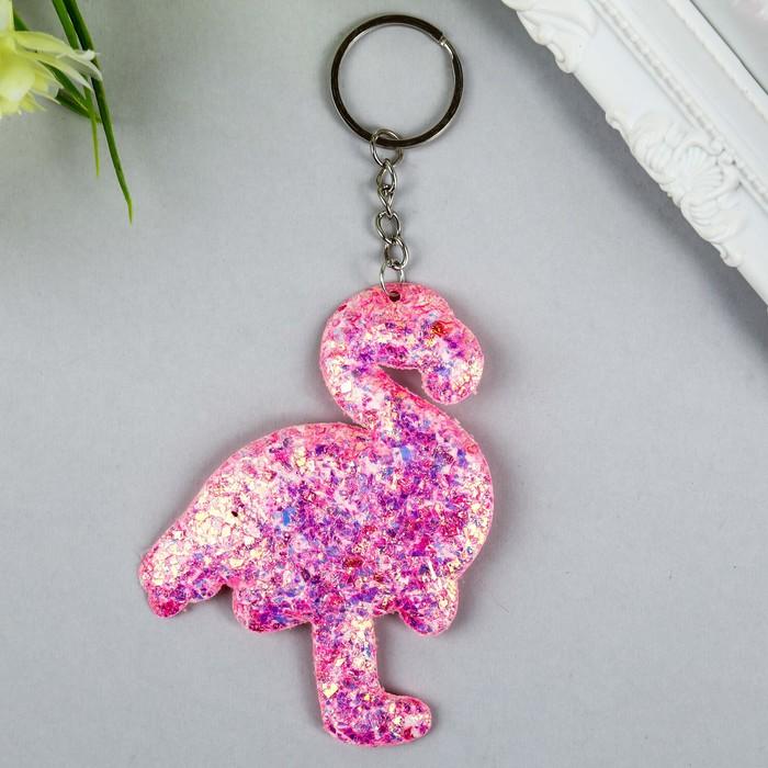 Брелок текстиль фольга Фламинго розовый 10х7,5 см