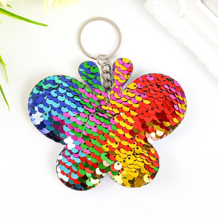 Брелок текстиль пайетки Бабочка разноцветный 8х10х2 см