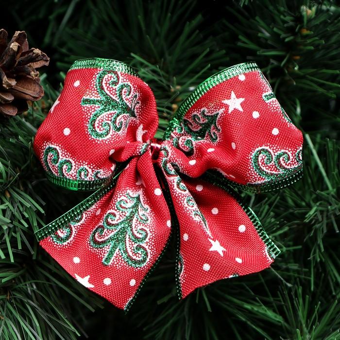 """Бант праздничный """"Рождественский """", красно-зеленый, 11 х 9 см"""
