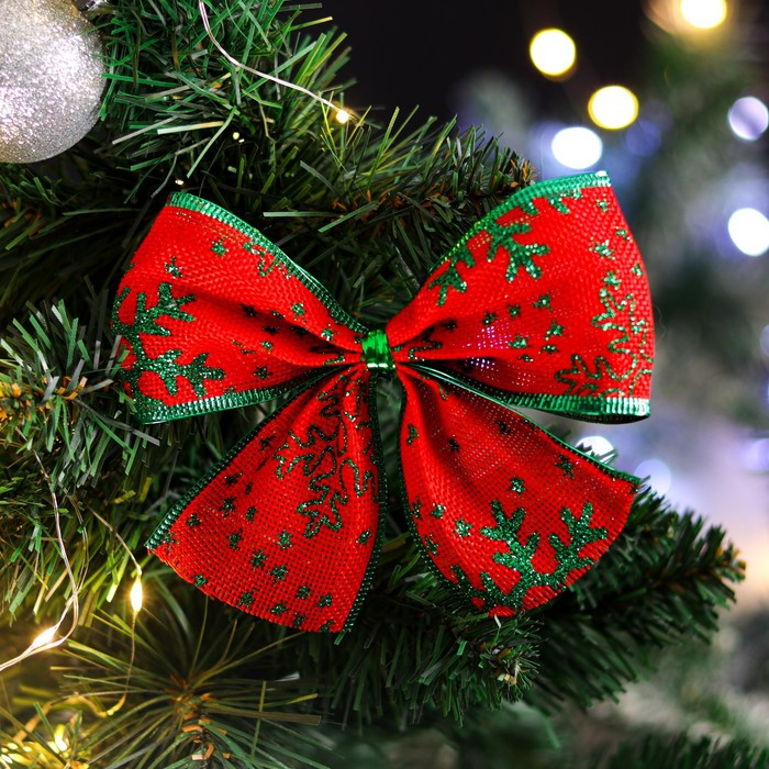 """Бант праздничный """"Снежа"""", красно-зеленый, 14 х 10 см"""