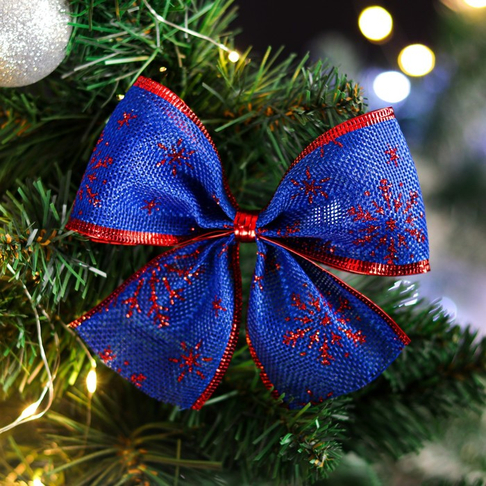 """Бант праздничный """"Снежа"""", сине-красный, 14 х 10 см"""