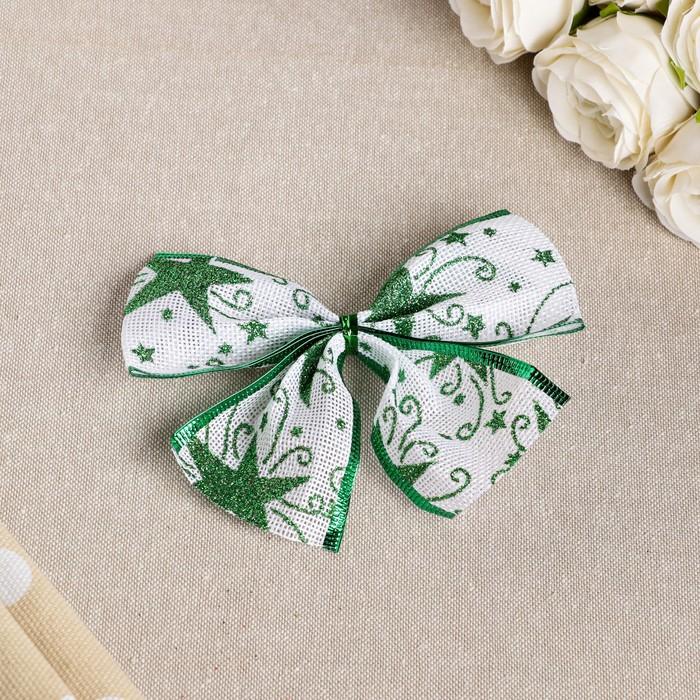 """Бант праздничный """"Звёздочка"""", зеленый, 14 х 10 см"""