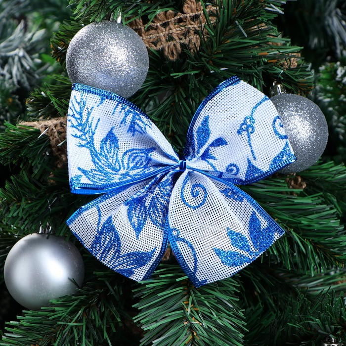 "Бант праздничный ""Ледяной цветок"", синий, 14 х 10 см"