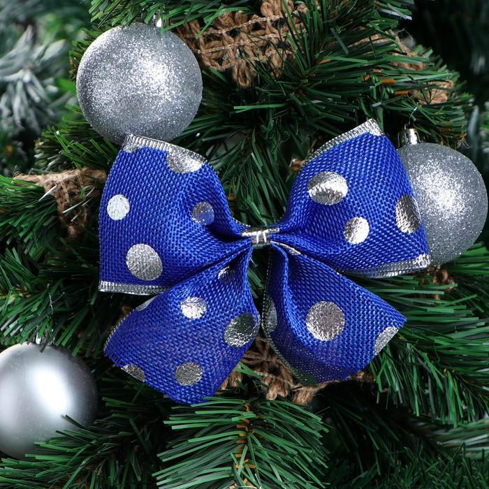"""Бант праздничный """"Горошек"""", синий в серебреный горошек, 14 х 10 см"""