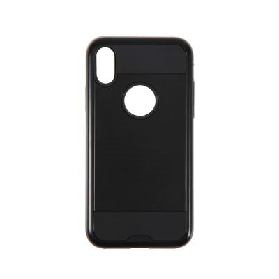 Чехол LuazON для iPhone X, двойной корпус противоударный, резина и пластик, чёрный