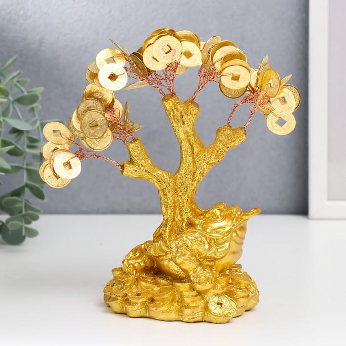 Бонсай денежное дерево Золотая жаба на монетах 90 монет 18,5х18х9,5 см