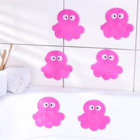 Набор мини-ковриков для ванны Доляна «Медуза», 11×12 см, 6 шт, цвет МИКС Ош