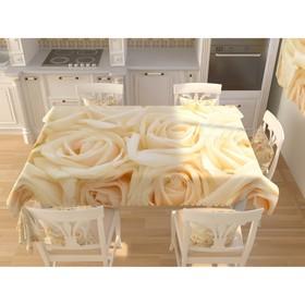 Фотоскатерть «Бежевые розы», размер 145 × 145 см, габардин