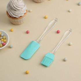 Набор для выпечки Лёд', 2 предмета: лопатка, кисть, цвет МИКС Ош